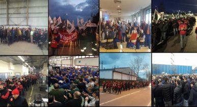 Thousands of metal workers member of Bileşik Metal İş  protested the strike ban in the factories